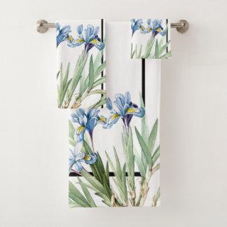 Ensemble bleu botanique de serviette de Bath de