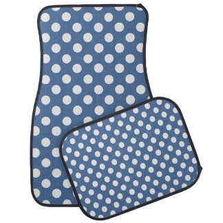 Ensemble bleu et blanc de tapis de voiture de poin