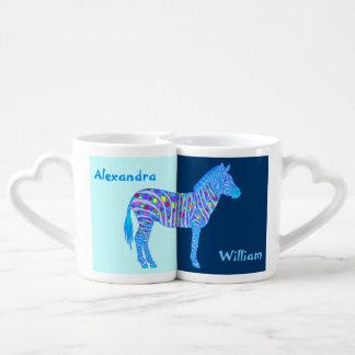 Ensemble bleu personnalisé de tasse d'amusement de mugs amoureux
