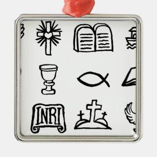 Ensemble chrétien d'icône ornement carré argenté