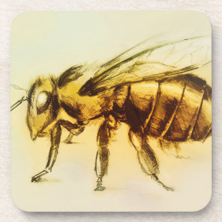 Ensemble de 6 dessous de verre jaunes d'abeille
