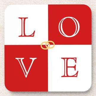 Ensemble de caboteur d'amour de faveur de mariage sous-bock