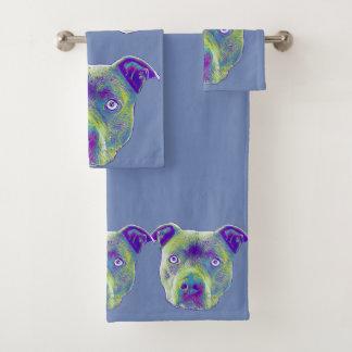 Ensemble de chien de Pitbull de serviettes de bain