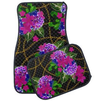 Ensemble de conception de feuille florale et de tapis de voiture