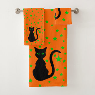 Ensemble de serviette de Bath de chat noir