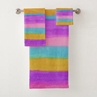 Ensemble de serviette de Bath de rayures de cabane