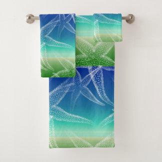 Ensemble de serviette de plage de vert bleu