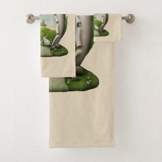 Ensemble de serviette de salle de bains de lapins