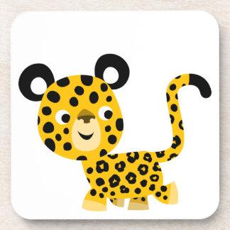 Ensemble de sourire de léopard de bande dessinée m dessous-de-verre