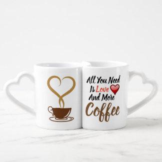 Ensemble de tasse de café d'amour