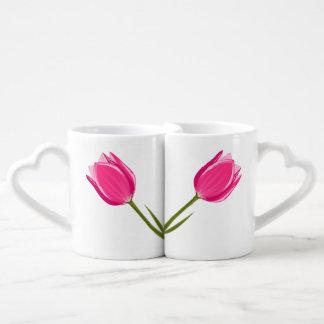 Ensemble de tasse de café d'amour de tulipe