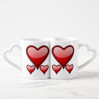 Ensemble de tasse de café de coeur d'amour