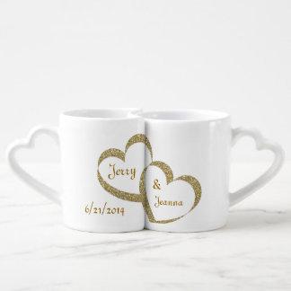 Ensemble de tasse de nouveaux mariés de coeurs tasses duo