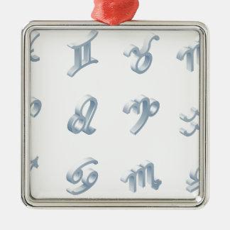 Ensemble d'icône d'horoscope de zodiaque ornement carré argenté