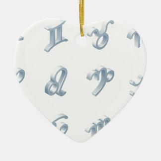 Ensemble d'icône d'horoscope de zodiaque ornement cœur en céramique