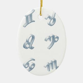Ensemble d'icône d'horoscope de zodiaque ornement ovale en céramique