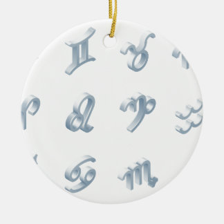 Ensemble d'icône d'horoscope de zodiaque ornement rond en céramique