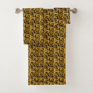 Ensemble élégant de serviette de feuillage d'or