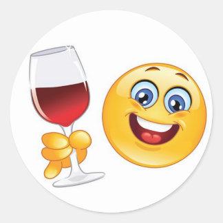 ensemble en verre de vin d'autocollant d'emoji de sticker rond
