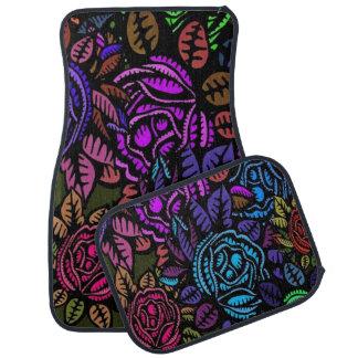 Ensemble floral coloré de 4 tapis de voiture