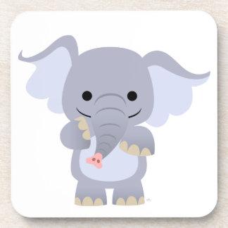 Ensemble heureux de caboteur d'éléphant de bande d dessous-de-verre