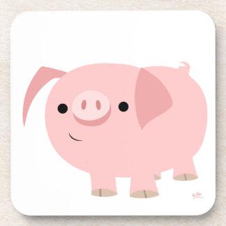 Ensemble mignon de caboteur de porc de bande dessi sous-bock