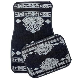 Ensemble noir et gris de conception de 4 tapis de tapis de voiture
