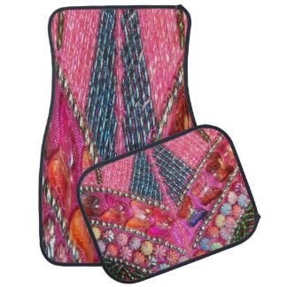 Ensemble perlé décoratif rose de 4 tapis de tapis de sol