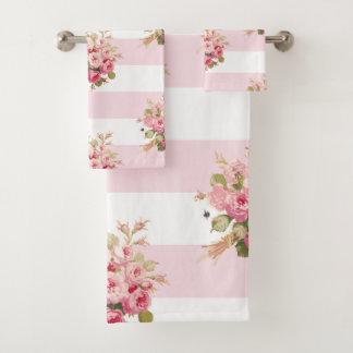Ensemble rose de serviette de bain de rayure de