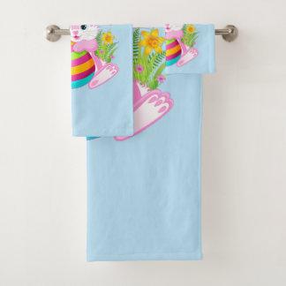 Ensemble rose de serviette de salle de bains de