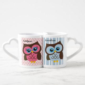 Ensemble rose et bleu personnalisé de tasse d'aman mug amoureux