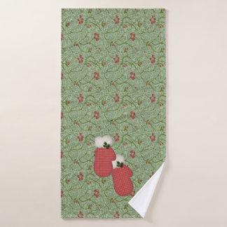 Ensemble rouge de serviette de Noël de mitaines