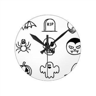 Ensemble tiré par la main d'icône de Halloween Horloge Ronde
