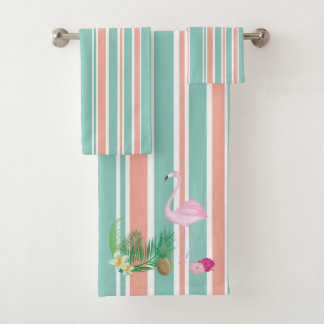 Ensemble tropical de serviette de flamant