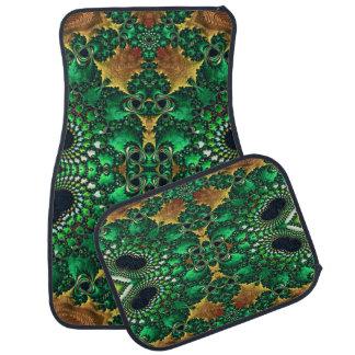 Ensemble vert de noir et d'or de 4 tapis tapis de voiture