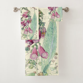 Ensemble vintage botanique de serviette de Bath de