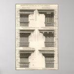 Entablatures vintages, ordres d'architecture affiche