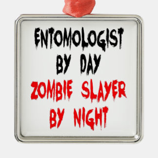 Entomologiste de tueur de zombi ornement carré argenté