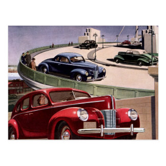 Entraînement de voitures classique vintage de carte postale