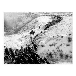 Entraînement des bétail pendant l'hiver carte postale