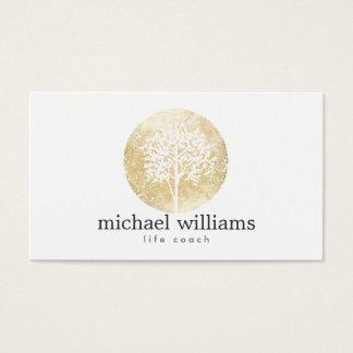 Entraîneur d'or de la vie d'arbre d'aquarelle, cartes de visite