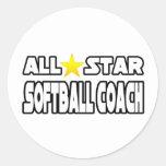 Entraîneur du base-ball d'All Star Sticker Rond