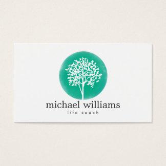 Entraîneur vert de la vie d'arbre d'aquarelle, cartes de visite