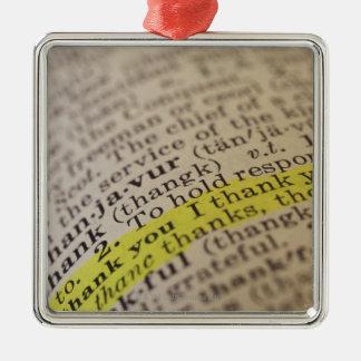 Entrée de dictionnaire accentuée ornement carré argenté