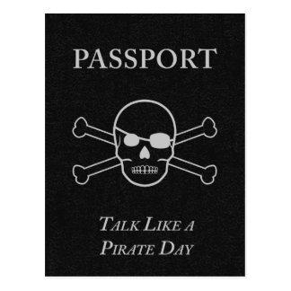 entretien comme un passeport de jour de pirate cartes postales