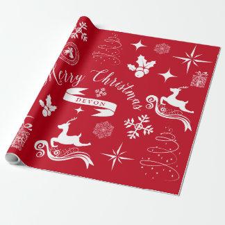 Enveloppe blanche et rouge vintage personnalisée papier cadeau noël
