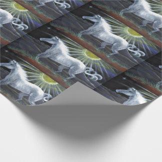 Enveloppe de cadeau en pastel de cheval blanc papier cadeau noël