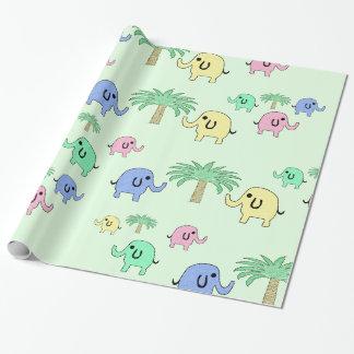 Enveloppe de cadeau en pastel mignonne d'éléphants papiers cadeaux