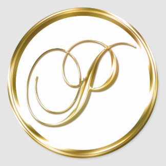 Enveloppe d'or de Faux de monogramme de P ou joint Sticker Rond