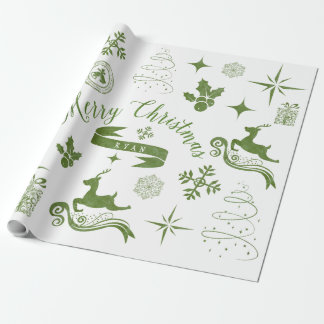 Enveloppe vintage personnalisée de Noël vert et Papier Cadeau Noël